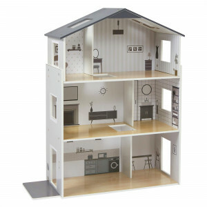 Contemporary Dolls House with 18 Handcrafted Wood Furniture Accessories