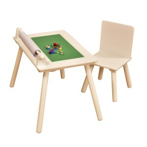 White Writing Table and Chair with Lego Board - Liberty House (Liberty-4)
