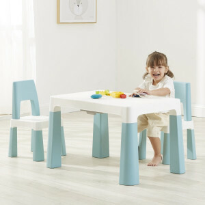 Kids White and Green Height Adjustable Table and 2 Chairs