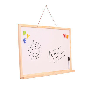 Wall Hanging 2-sided Magnetic Dry Wipe Whiteboard and Chalkboard Easel