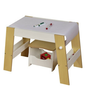 Kids Play Table and Stool – White and Pine