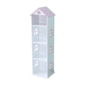 Tall White Dollhouse Bookcase With Pink Roof