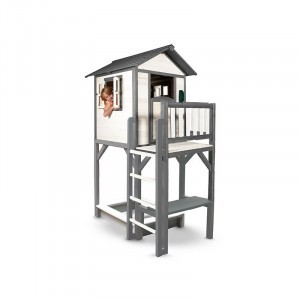Lodge Play house XXL with sandpit and picnic table (Gray / white) - Sunny (C050.012.00)