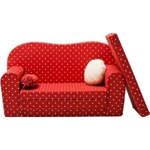 Gepetto Maxi Sofa / Children's Sleeping Couch Red and White 05.07.11.01