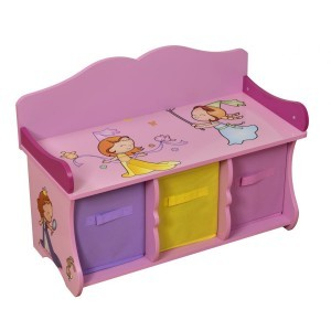 Princess Bench with 3 Fabric Bins - Liberty House Toys (MZ4174)