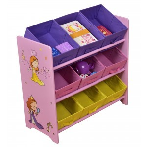 Princess Toy Storage Shelf with 9 Fabric Bins - Liberty House Toys (MZ4273)