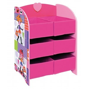 Fashion Girl Storage Shelf With Six Fabric Bins - Liberty House Toys (MZ4602)