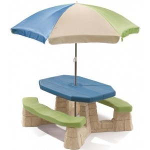 Picnic table with parasol (aqua) - Step2 (843800)