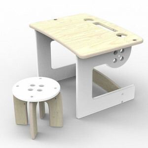 Table with chair Button White
