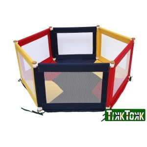 Tikk Tokk Pokano Fabric Playpen - Hexaganol - Colourful - Liberty House Toys (POK11C)