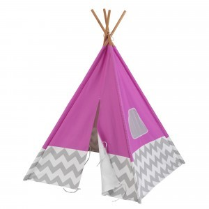 Playtent teepee (Pink) with grey/white Chevron - Kidkraft (00227)