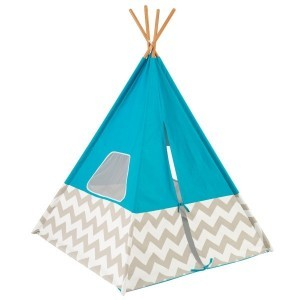 Playtent teepee (Turquoise) with grey/white Chevron - Kidkraft (00223)