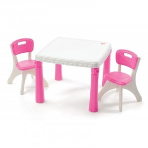 LifeStyle table and chairs pink / white - Step 2 (Step2-1)