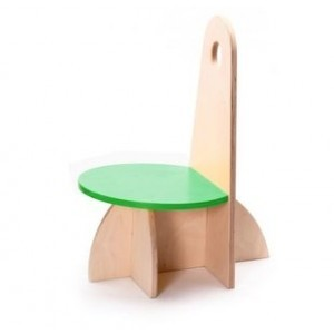 Wooden Designer Chair With Backrest Green - ADO Toys (ADO Toys-30)