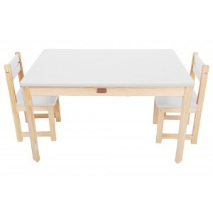 Little Boss Rectangular Table & Chairs – White - Liberty House Toys (TBS11W)