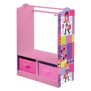 Fashion Girl Clothes Rack with Storage Bins - Liberty House Toys (TF4623)
