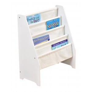 White Wooden Book Display with Canvas Pockets - Liberty House Toys (TF4912)
