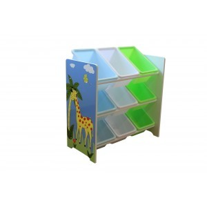 Safari Storage Shelf with 9 Plastic Bins - Liberty House Toys (TF5003)