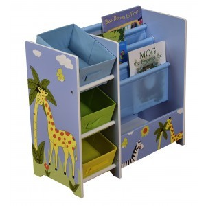 Safari Book Display with Storage & Fabric Bins - Liberty House Toys (TF5007)