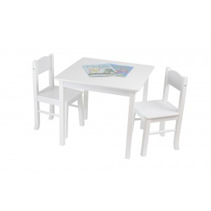 White Wooden Table & 2 Chair Set - Liberty House Toys (TF5303)