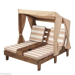 Wooden Double Chaise Lounge with Cup Holders (Espresso color & brown / white) - Kidkraft (00534)