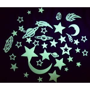 UV Glow in Dark (Moon, planets and stars – 43 piece set)