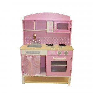 Wooden Toy Kitchen with Microwave – Pink Gingham - Liberty House Toys (W10C067A)