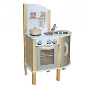 Little Chef Contemporary Wooden Toy Kitchen(Grey)With Accessories - Liberty House Toys (W10C070A)