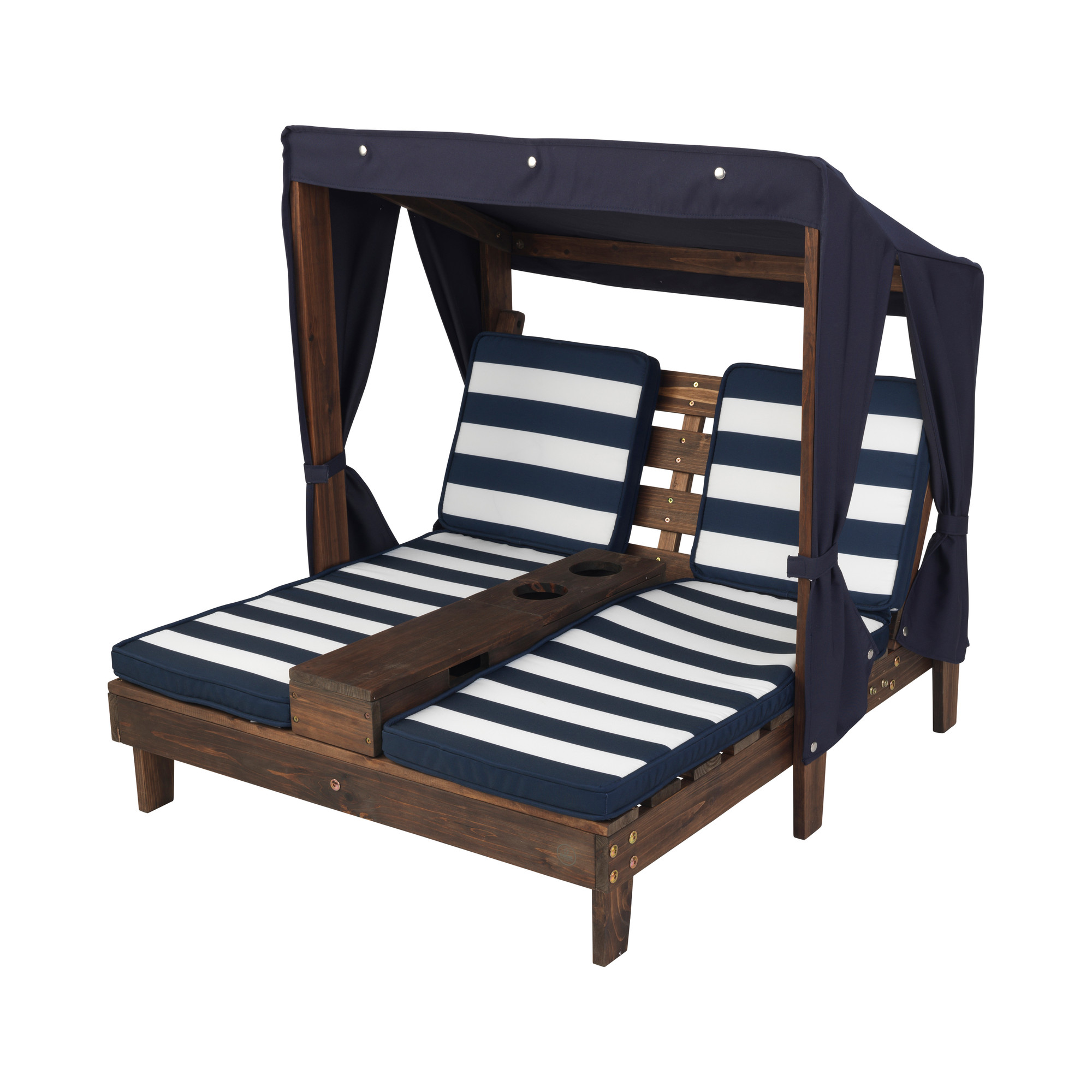 Wooden Double Chaise Lounge With Cup Holders Espresso Color Navy